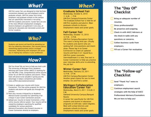 20_UM-Flint Career Fair Tri-fold Brochure