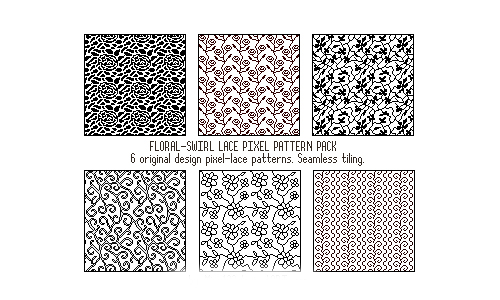 6 Pixel Floral-Swirl Lace Pack