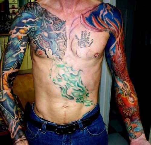 Dragon and Pheonix Sleeves Tattoo