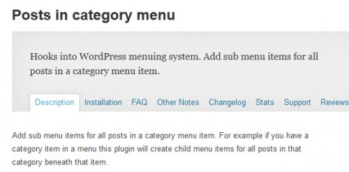Posts in Category Menu