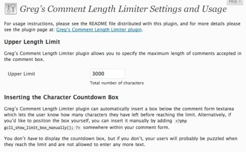Greg's Comment Length Limiter