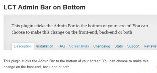 LCT Admin Bar on Bottom