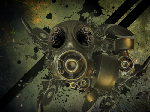 15_Gas Mask Grunge Wallpaper
