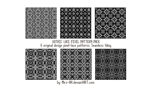 6 Pixel Gothic Lace Patterns