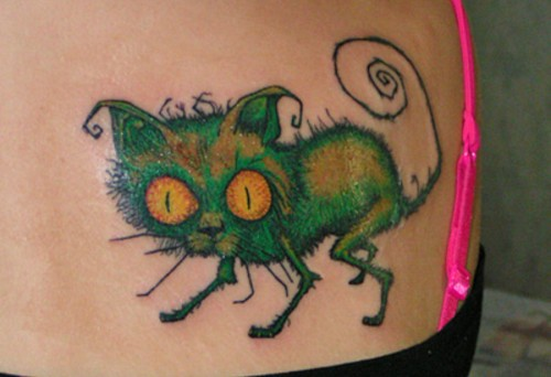 Back Crazy Cat Tattoo
