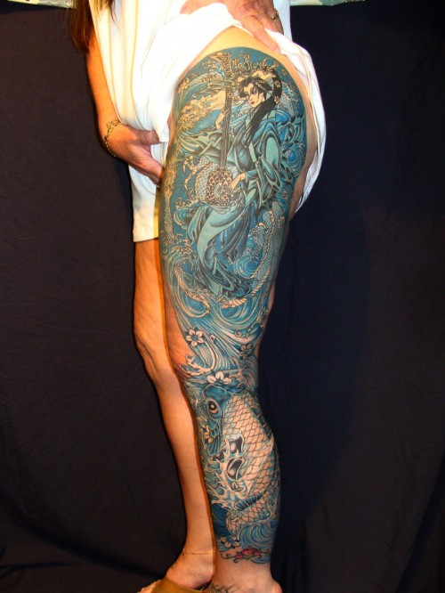Monochromatic Leg Sleeve Tattoos