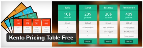 Kento Pricing Table Free