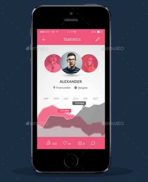 Mobile UI Kit Flat Color