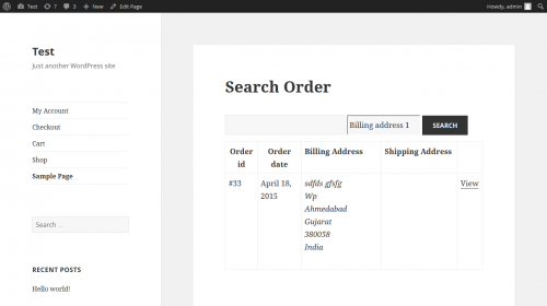 WooCommerce Order Search