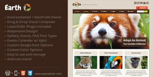 Earth - Eco, Environmental NonProfit WordPress Theme