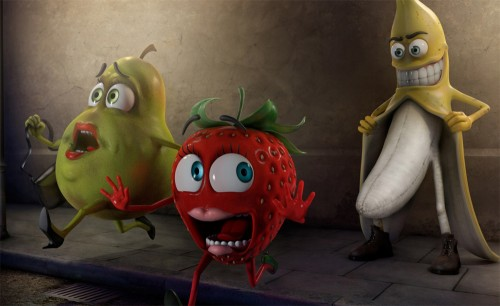 Banana, Pear and Strawberry Funny Wallpaper